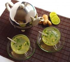 Faire et boire du thé au gingembre