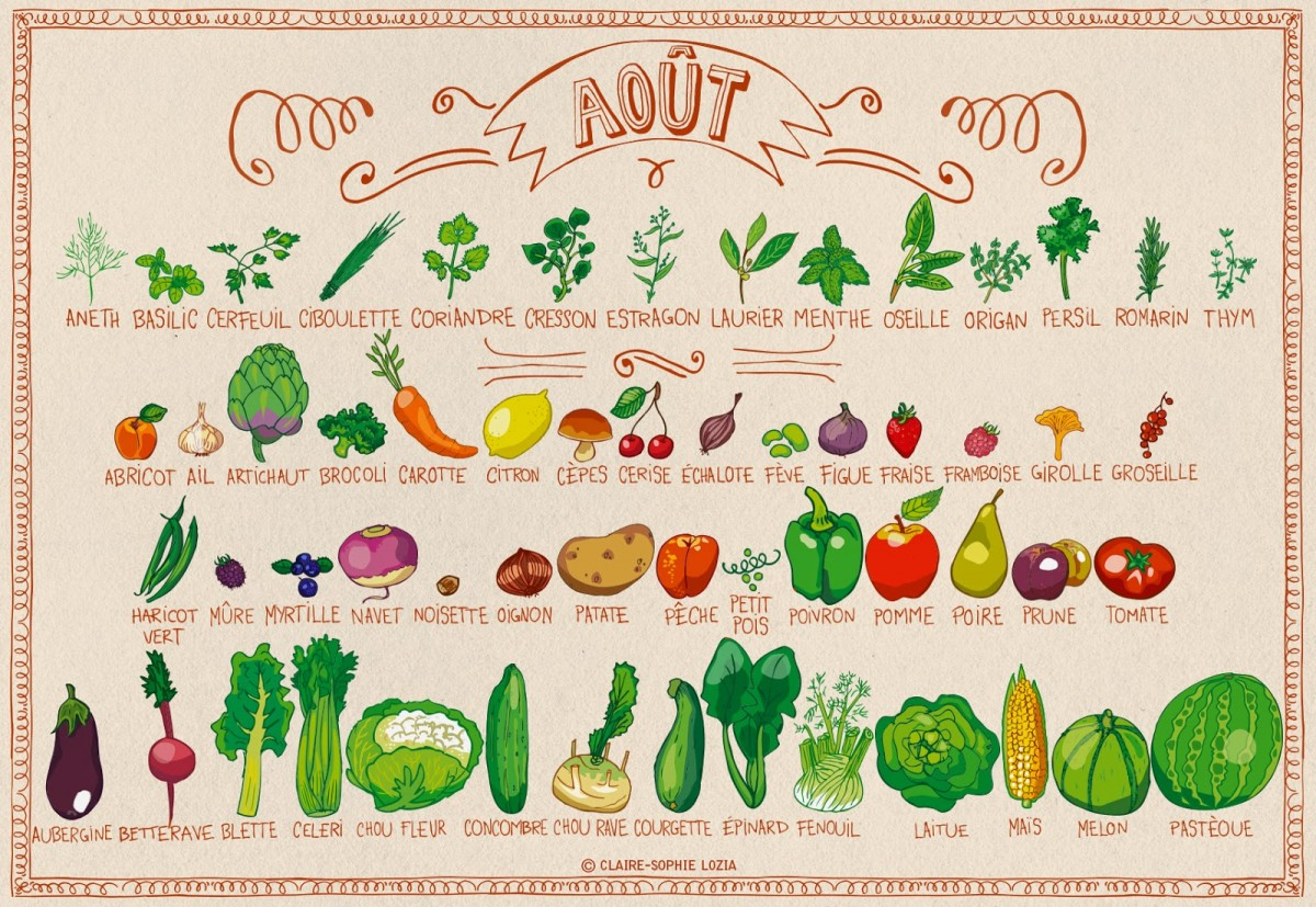 Miam miam aout fruits et l gumes de saison permaculture - Fruit et legume de saison ...