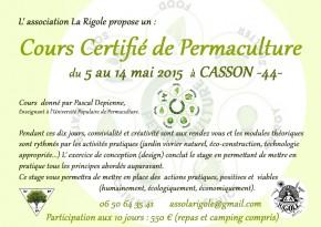 Cours Certifié Permaculture Mai 2015