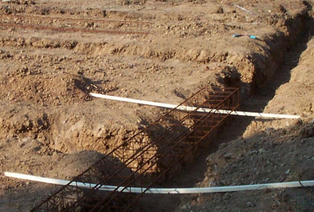 Installation des armatures dans les fouilles