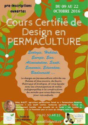 Cours Certifié de Design en Permaculture - octobre 2016 à La Réunion